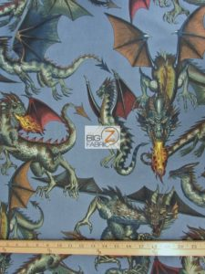 Tale Of The Dragon Blue Cotton Fabric