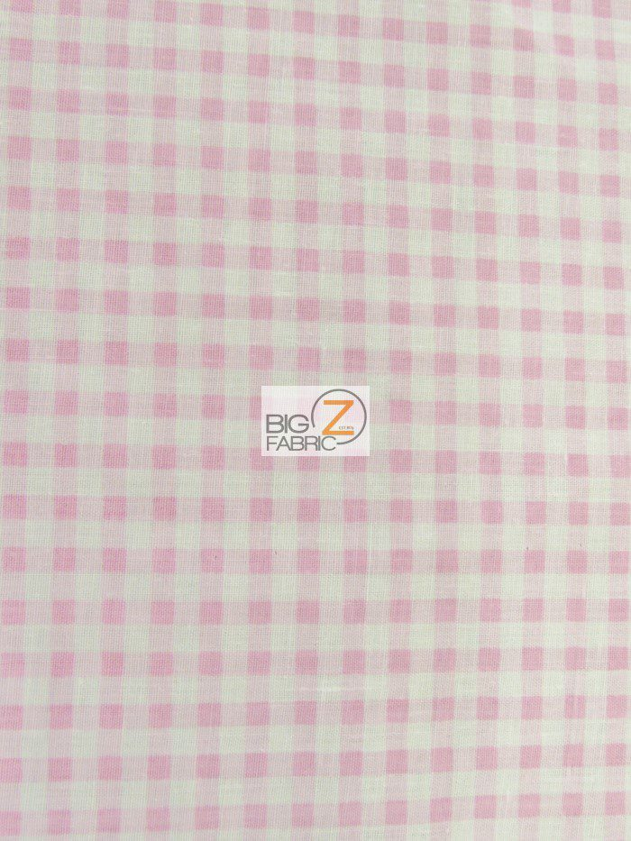 Pink Mini Checkered Gingham Poly Cotton Fabric