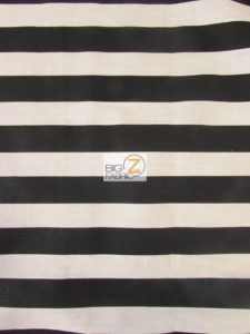 poly cotton striped black and white